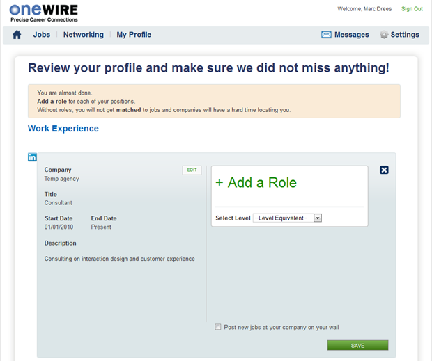OneWire | Werkervaring