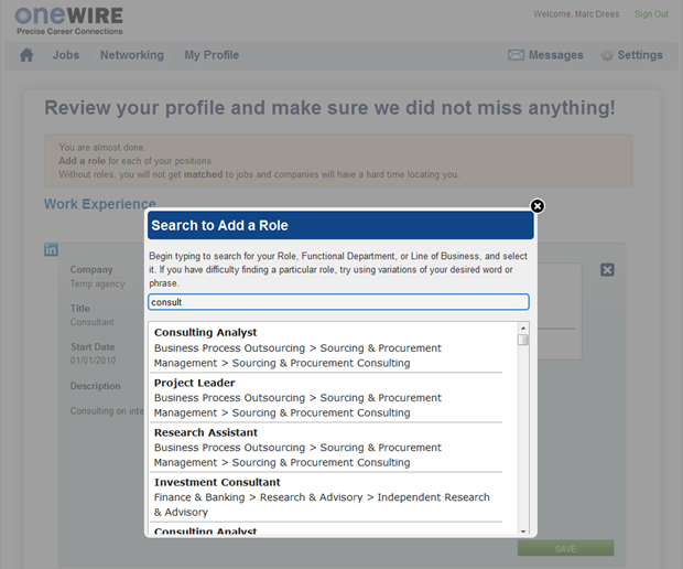 OneWire | Role pop-up