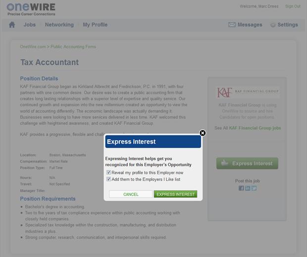 OneWire | Express interest