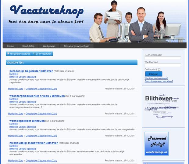 Vacatureknop | pagina