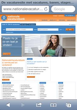 Nationale Vacaturebank | Homepage, mobiel