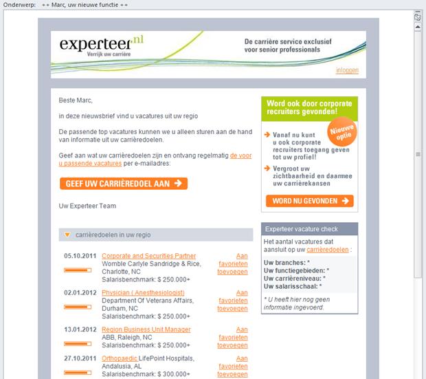 Experteer e-mail
