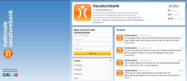 Nationale Vacaturebank   Twitter account