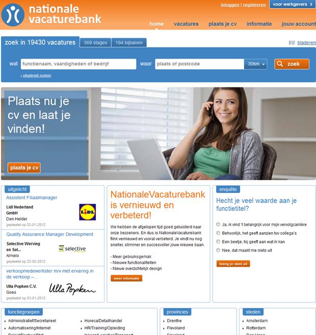 Nationale Vacaturebank   Homepage nieuw