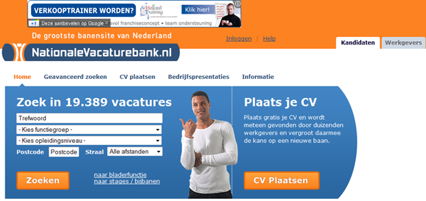 Nationale Vacaturebank | Homepage, oud