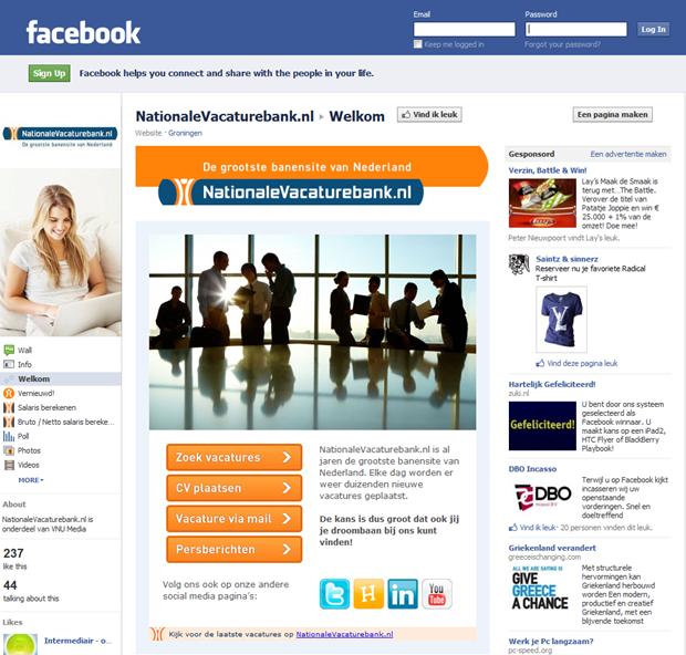 Nationale Vacaturebank   Facebook