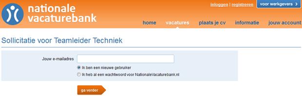 Nationale Vacaturebank   Sollicitatie, 1