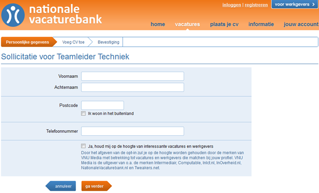 Nationale Vacaturebank | Sollicitatie, 2