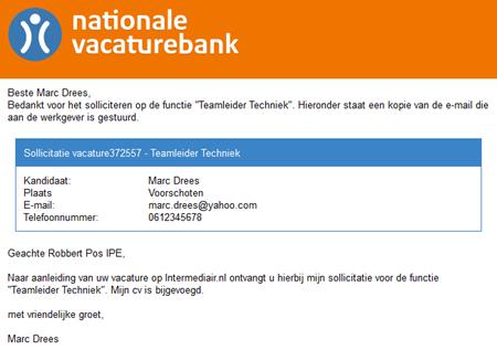 Nationale Vacaturebank   Sollicitatie, e-mail