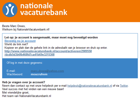 Nationale Vacaturebank   Colportagemail
