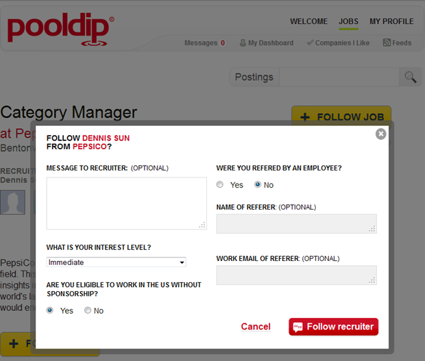 Pooldip | Follow recruiter / job