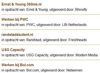Dutch Interactive Awards, genomineerden in de categorie Best recruitment