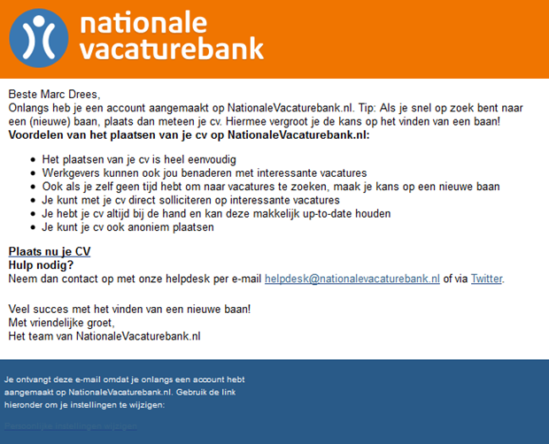 Nationale Vacaturebank | E-mail spam