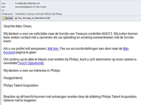 "Philips, ""werken bij"" site | E-mail"