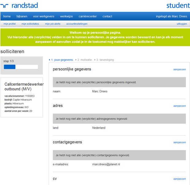 Randstadstudent | Sollicitatieformulier