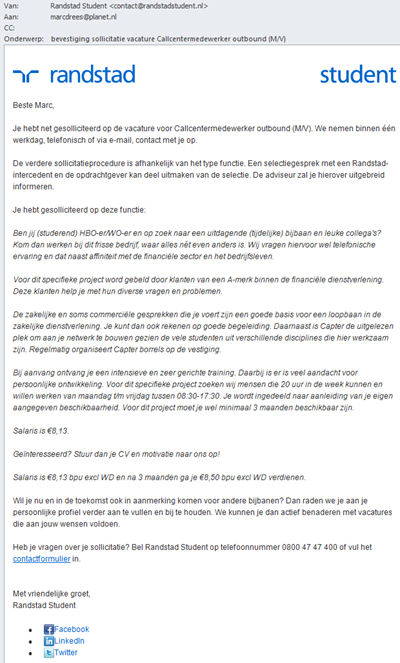 Randstadstudent | E-mail bevestiging