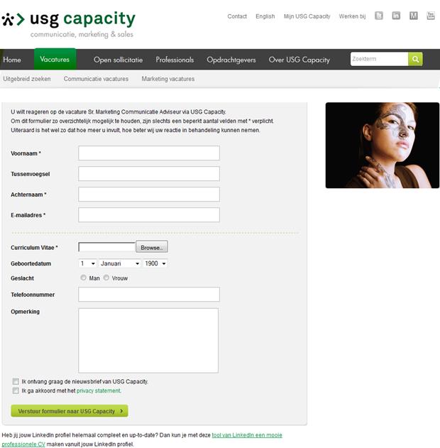 USG Capacity | Sollicitatieformulier