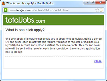 Totaljobs   Pop-up One Click Apply