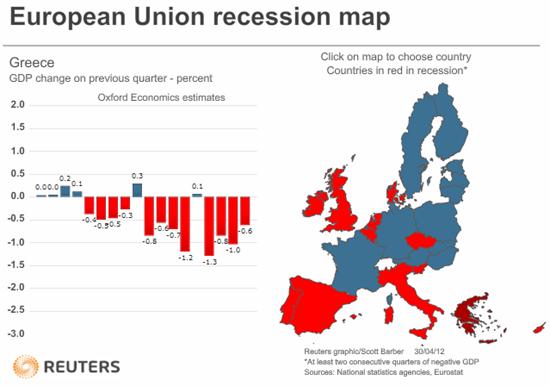 European Union recession map