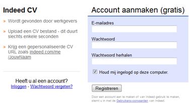 Indeed | Account aanmaken