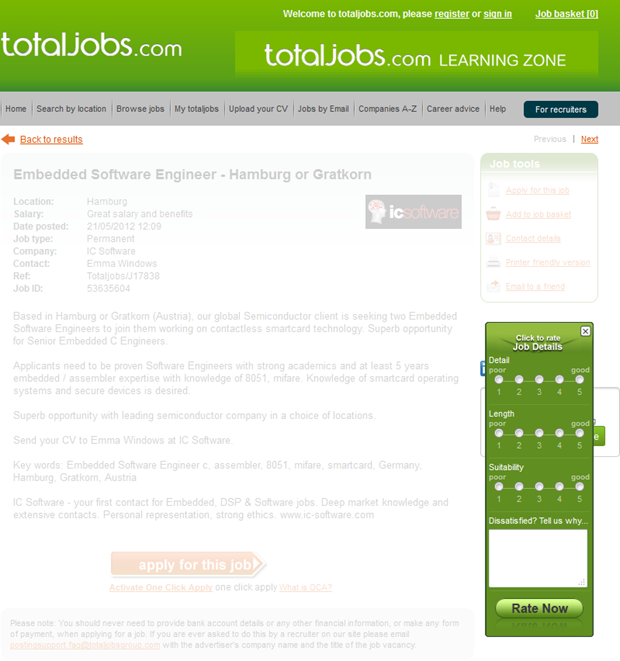 Totaljobs   Click to rate Job Details