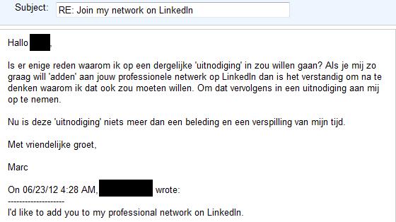 reactie uitnodiging sollicitatie Een standaard LinkedIn uitnodiging is een belediging | Social  reactie uitnodiging sollicitatie