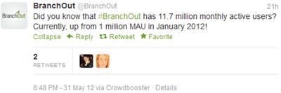 BranchOut tweet 31 mei 2012