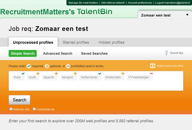 TalentBin | Zoekscherm, 2