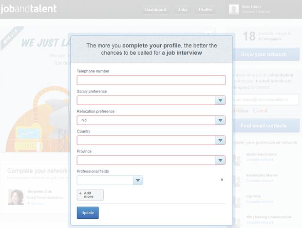 Jobandtalent | Dashboard met overlay, 2