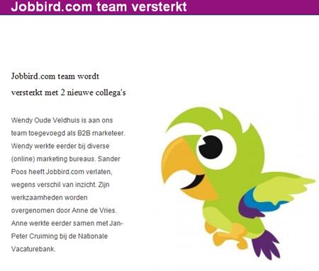 Nieuwsbrief Jobbird