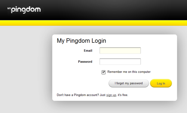 Pingdom | Login scherm