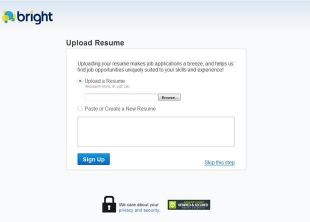 bright | upload resume