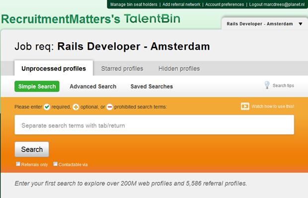 TalentBin | Zoekscherm
