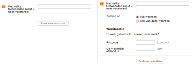 Werk.nl   Snelzoekfunctie oud en nieuw