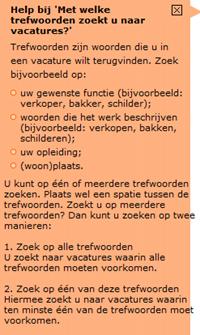 Werk.nl | Uitleg snelzoekfunctie