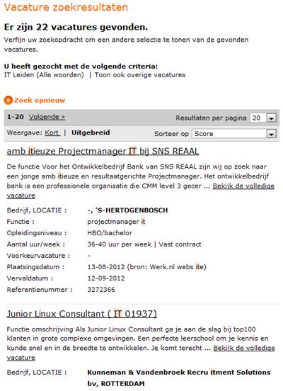 Werk.nl   Zoekresultaat snelzoeken