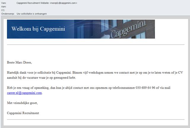 bevestiging sollicitatie Digitaal Werven: Cap Gemini | Recruitment onderzoek | Recruitment  bevestiging sollicitatie
