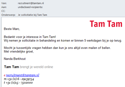 Tam Tam | E-mail