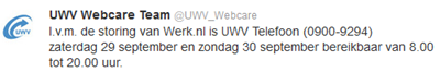 tweet UWV Webcare team