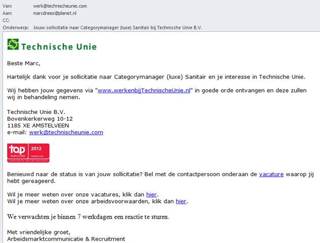 onderwerp sollicitatie mail Digitaal Werven: Technische Unie | Recruitment onderzoek  onderwerp sollicitatie mail