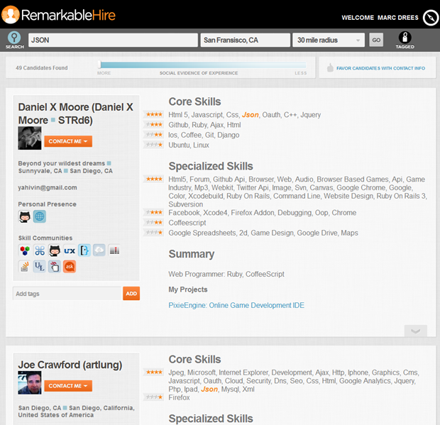 RemarkableTalent | Search page, 2