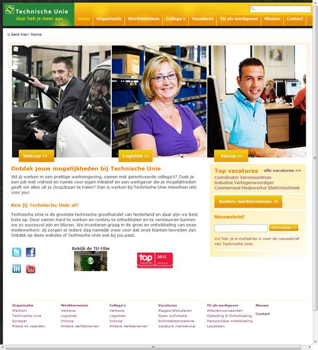 Technische Unie   homepage wervingssite