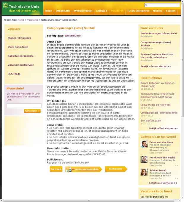 Technische Unie   Vacaturepagina