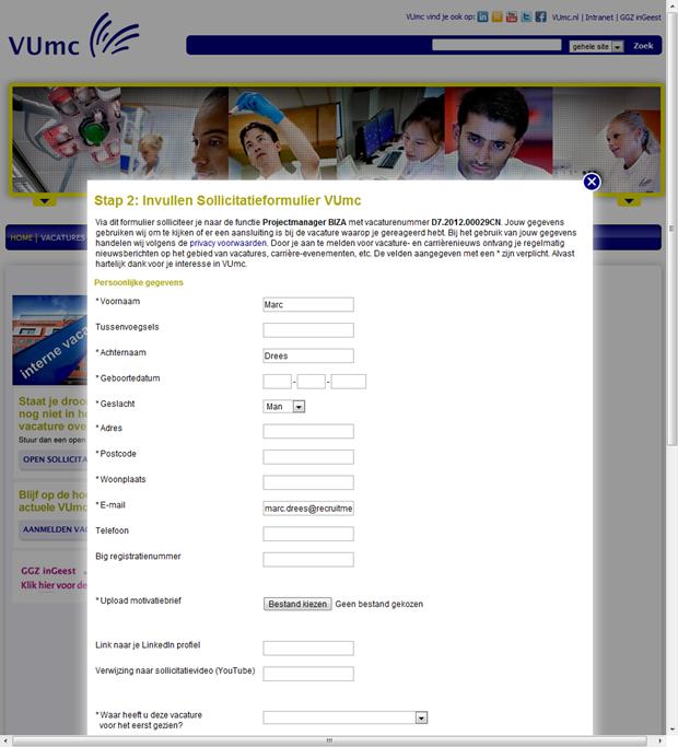 VUmc   Sollicitatieformulier