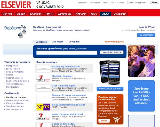 Elsevier, vacaturepagina