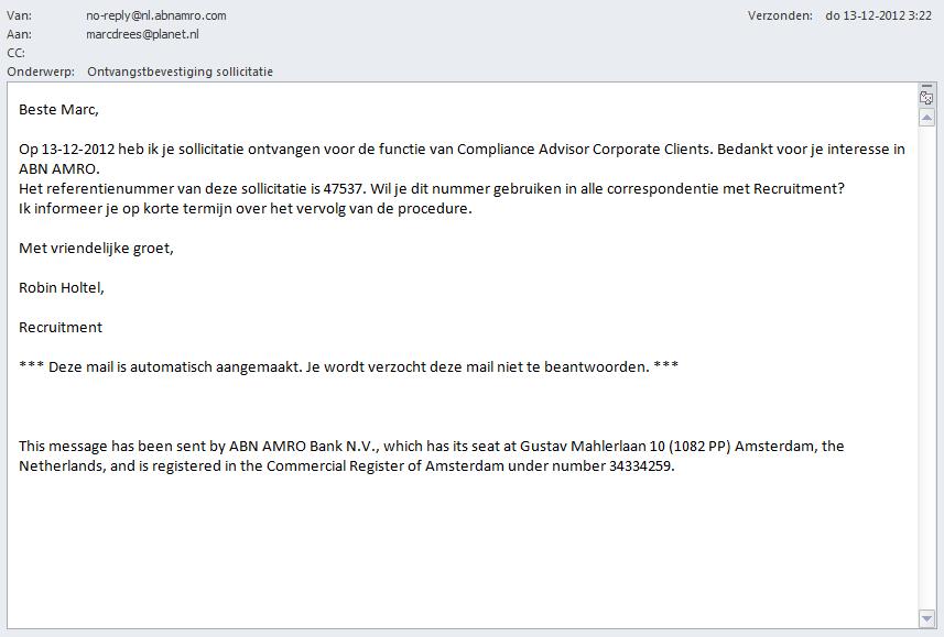 ontvangstbevestiging sollicitatie ABN AMRO: fraai online recruitmentproces – Recruitment Matters