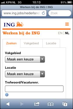 ING mobiele wervingssite | homepage