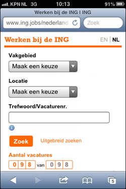 ING mobiele wervingssite | edited homepage