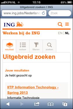 ING mobiele wervingssite | zoekresultaat