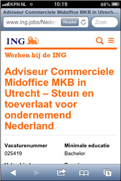 ING mobiele wervingssite | vacature